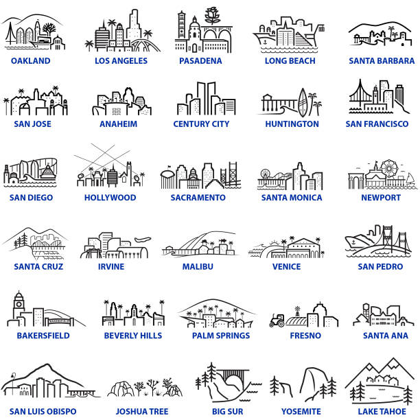 California Cityscape Illustrations Chunky Style Series of California Cityscapes and locations in a chunky illustration style oakland stock illustrations