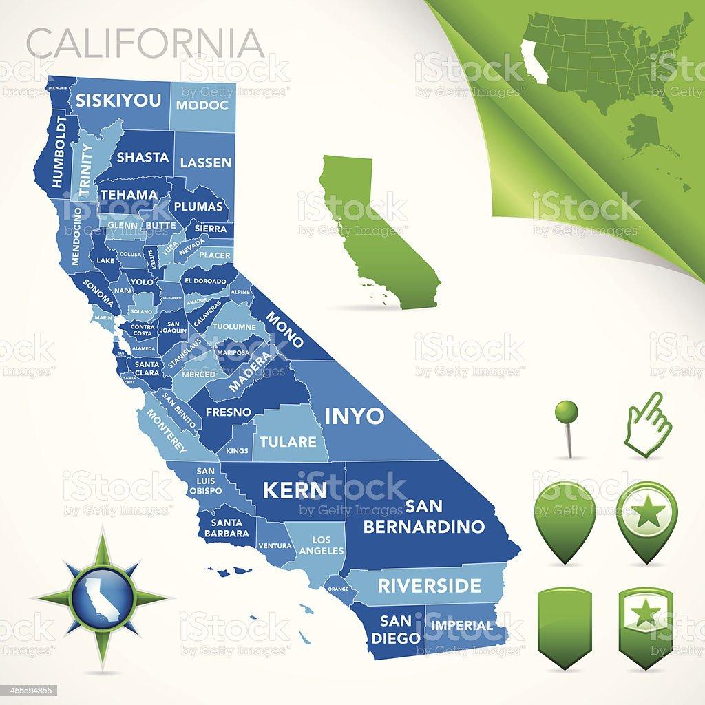 California County Map vector art illustration