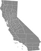 California county map vector outline illustration with counties names labeled in gray background. California state of USA county map. Map of California county state of United States of America