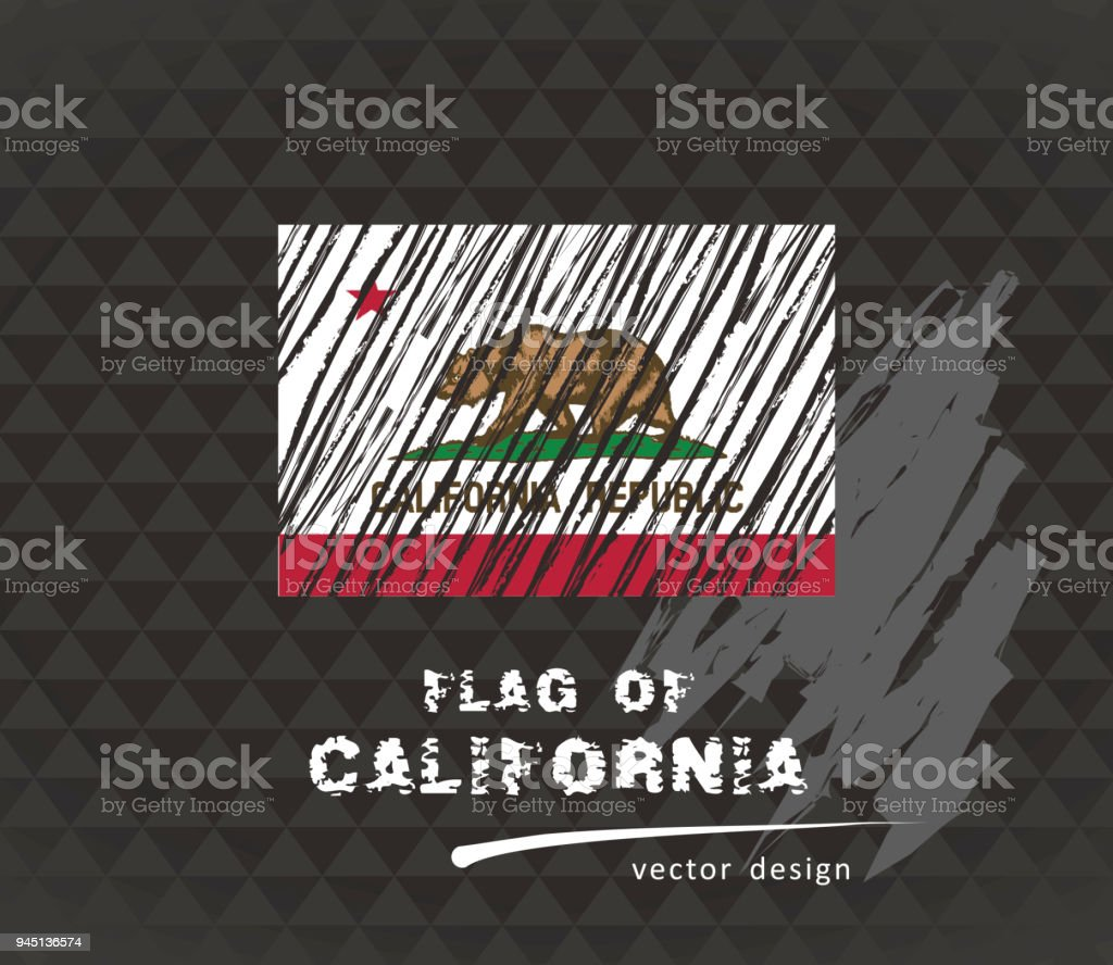 California Flag Vector Sketch Hand Drawn Illustration On Dark Grunge Background Royalty Free