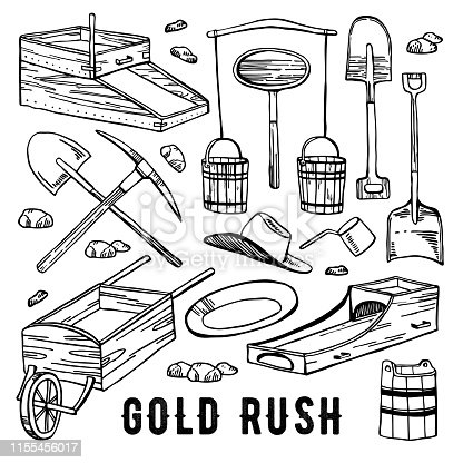 California gold rush vector hand drawn vintage outline graphic set. Historical gold mining tools isolated on white background