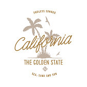 California golden state t-shirt design. Hand drawn palms with the seagulls. Usa related design elements for prints, posters. Vector vintage illustration.