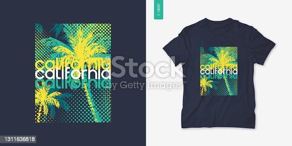 istock California graphic tee design, typography print, vector illustration 1311636818