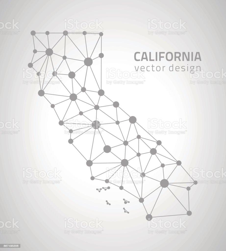 California grey dot outline vector triangle map