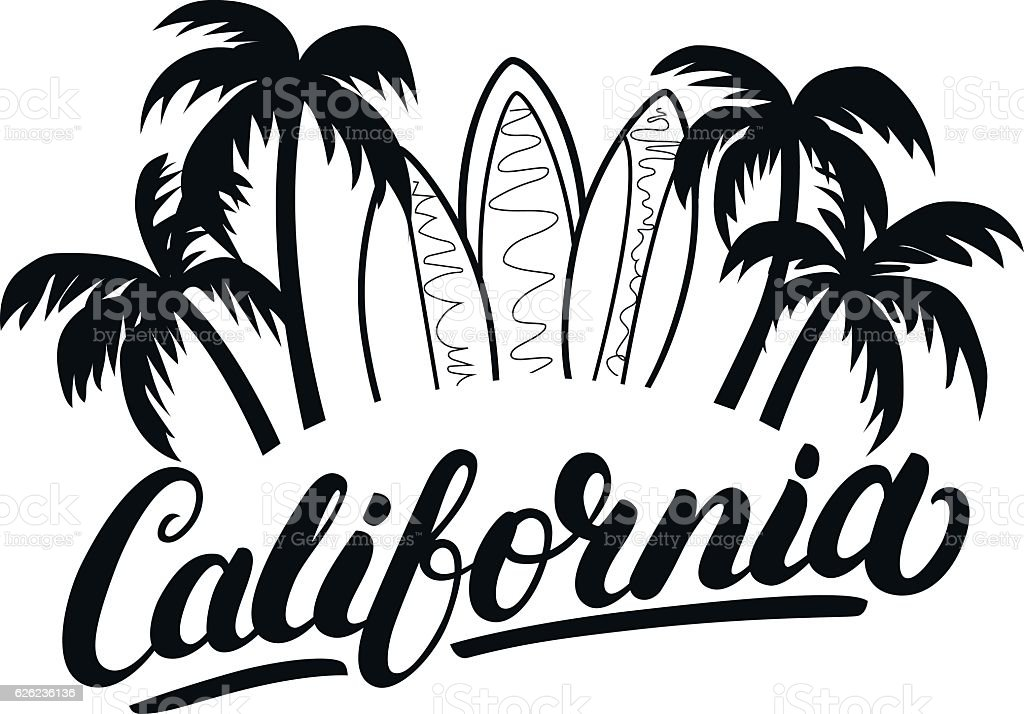 Download California Hand Written Lettering With Palms And ...