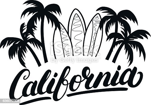 istock California hand written lettering with palms and surfboards. 636072308