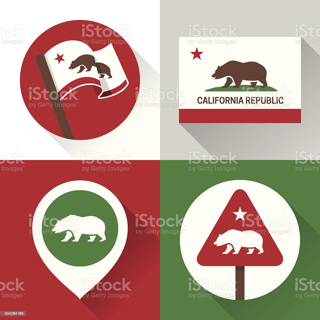 California Icons and Symbols vector art illustration