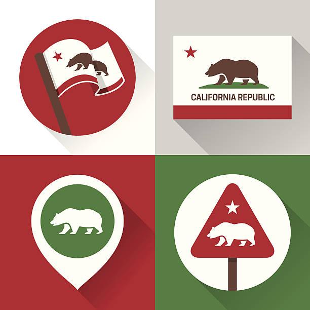 California Icons and Symbols vector art illustration
