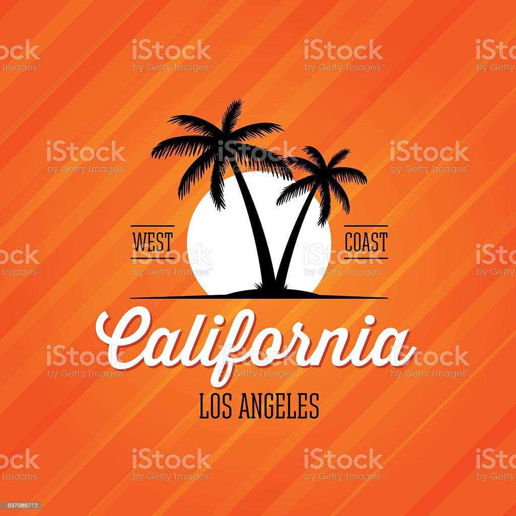 California Los Angeles red vector art illustration