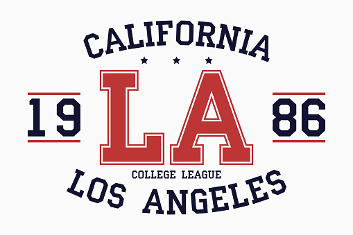 California, Los Angeles slogan typography graphics for t-shirt. College print for apparel. Varsity LA stamp. Vector