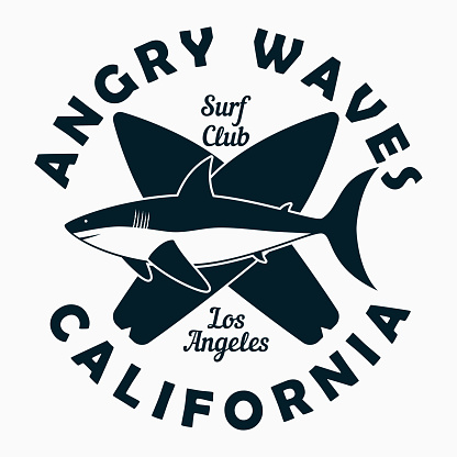California, Los Angeles - typography for design clothes, t-shirt. Graphic print with shark and surfboard. Surf club stamp for apparel. Vector