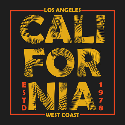 California, Los Angeles typography for design clothes, t-shirts with palm leaves. Graphics for print product, apparel. Vector