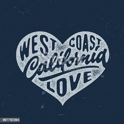 California Love - Hand crafted vintage t shirt graphics, apparel fashion tee design. Retro urban youth textured print. Hand drawn vector illustration. Original Lettering art.