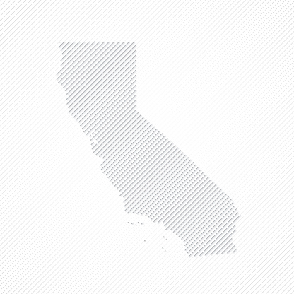 California map designed with lines on white background