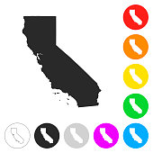 California map - Flat icons on different color buttons
