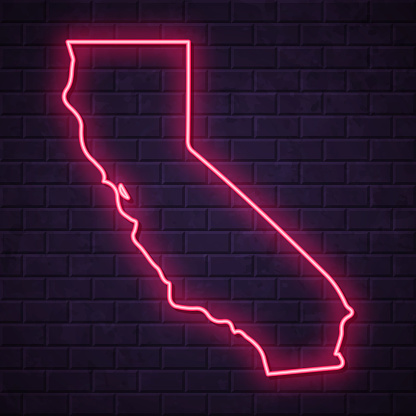 California map - Glowing neon sign on brick wall background