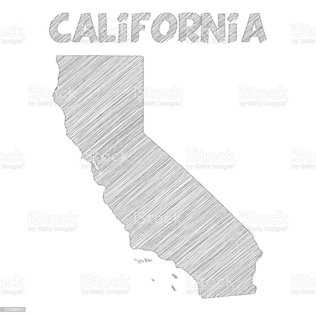 Mapa de California mano dibujado sobre fondo blanco - ilustración de arte vectorial