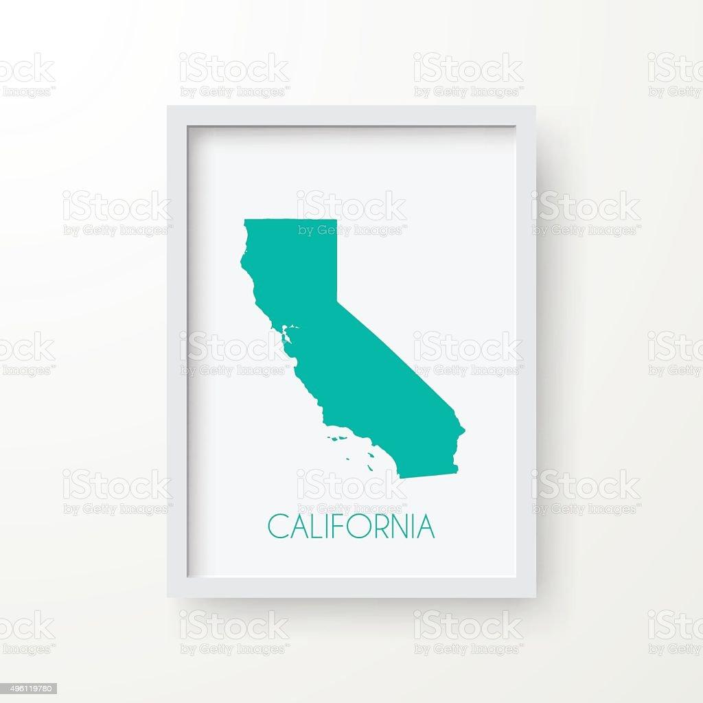 California Map in Frame on White Background vector art illustration