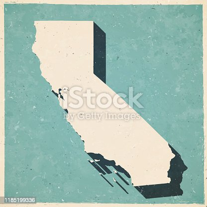 Map of California in a trendy vintage style. Beautiful retro illustration with old textured paper and a black long shadow (colors used: blue, green, beige and black). Vector Illustration (EPS10, well layered and grouped). Easy to edit, manipulate, resize or colorize.