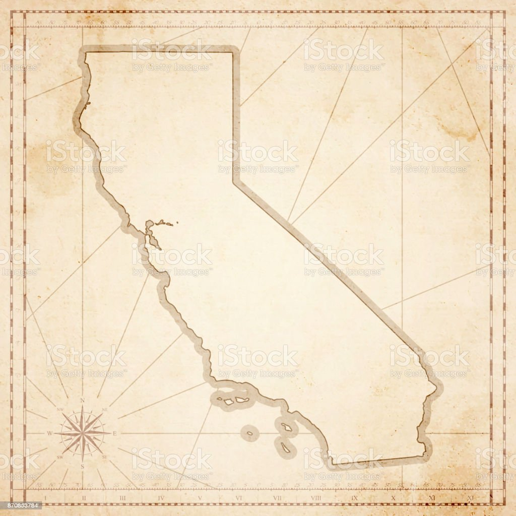California Map In Retro Vintage Style Old Textured Paper Stock