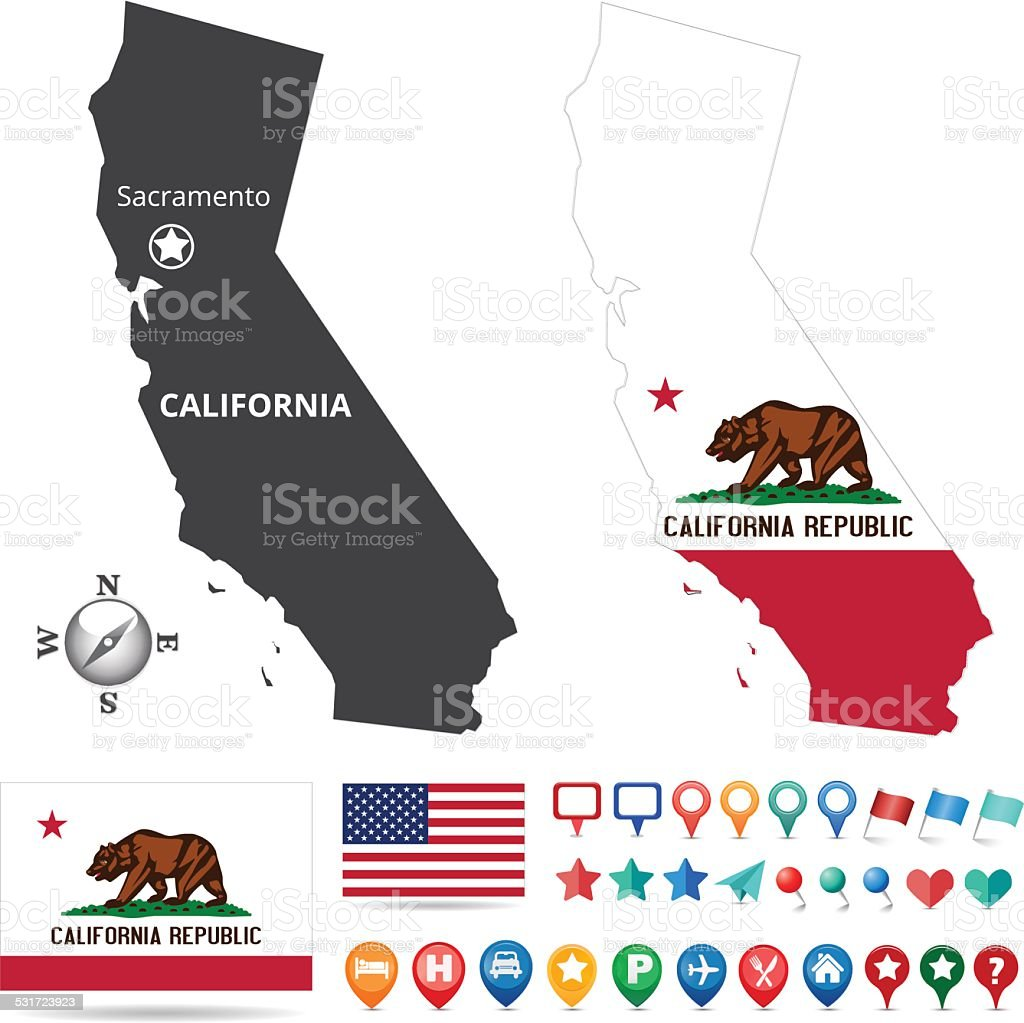 California Map Kit vector art illustration