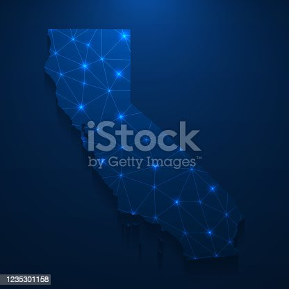 Map of California created with a mesh of thin bright blue lines and glowing dots, isolated on a dark blue background. Conceptual illustration of networks (communication, social, internet, ...). Vector Illustration (EPS10, well layered and grouped). Easy to edit, manipulate, resize or colorize.