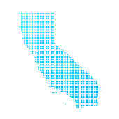 Map of California made with round blue dots on a blank background. Original mosaic illustration. Vector Illustration (EPS10, well layered and grouped). Easy to edit, manipulate, resize or colorize. Please do not hesitate to contact me if you have any questions, or need to customise the illustration. http://www.istockphoto.com/portfolio/bgblue