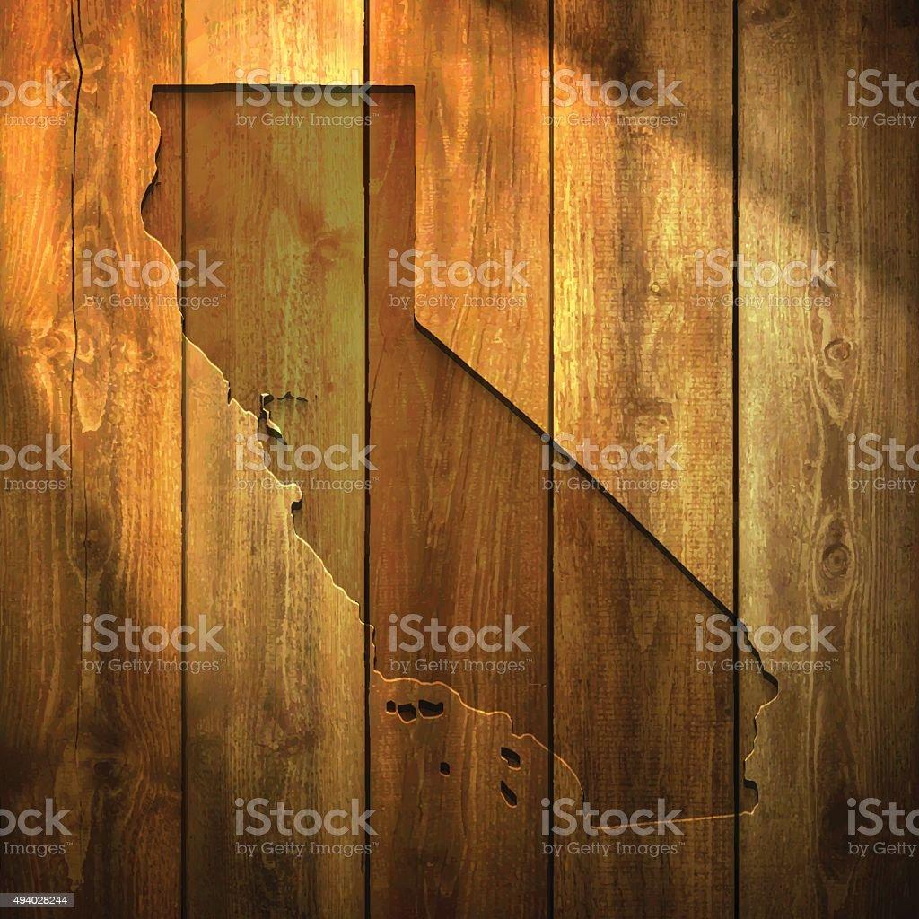 California Map on lit Wooden Background vector art illustration