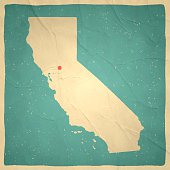 Map of California with a retro style, a vintage effect on an old textured paper.