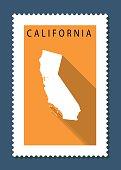 California Map on Orange Background, Long Shadow, Flat Design,stamp