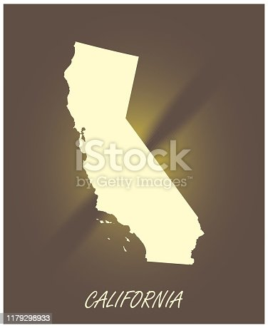 California map vector outline cartography black and white illuminated background illustration