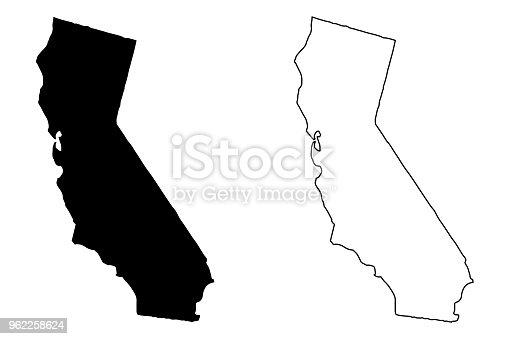 California map vector illustration, scribble sketch California map