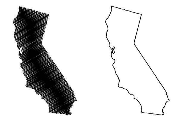 Royalty Free California Map Drawing Clip Art Vector Images