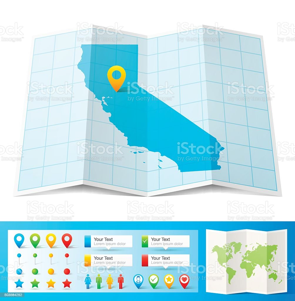 California Map with location pins isolated on white Background vector art illustration