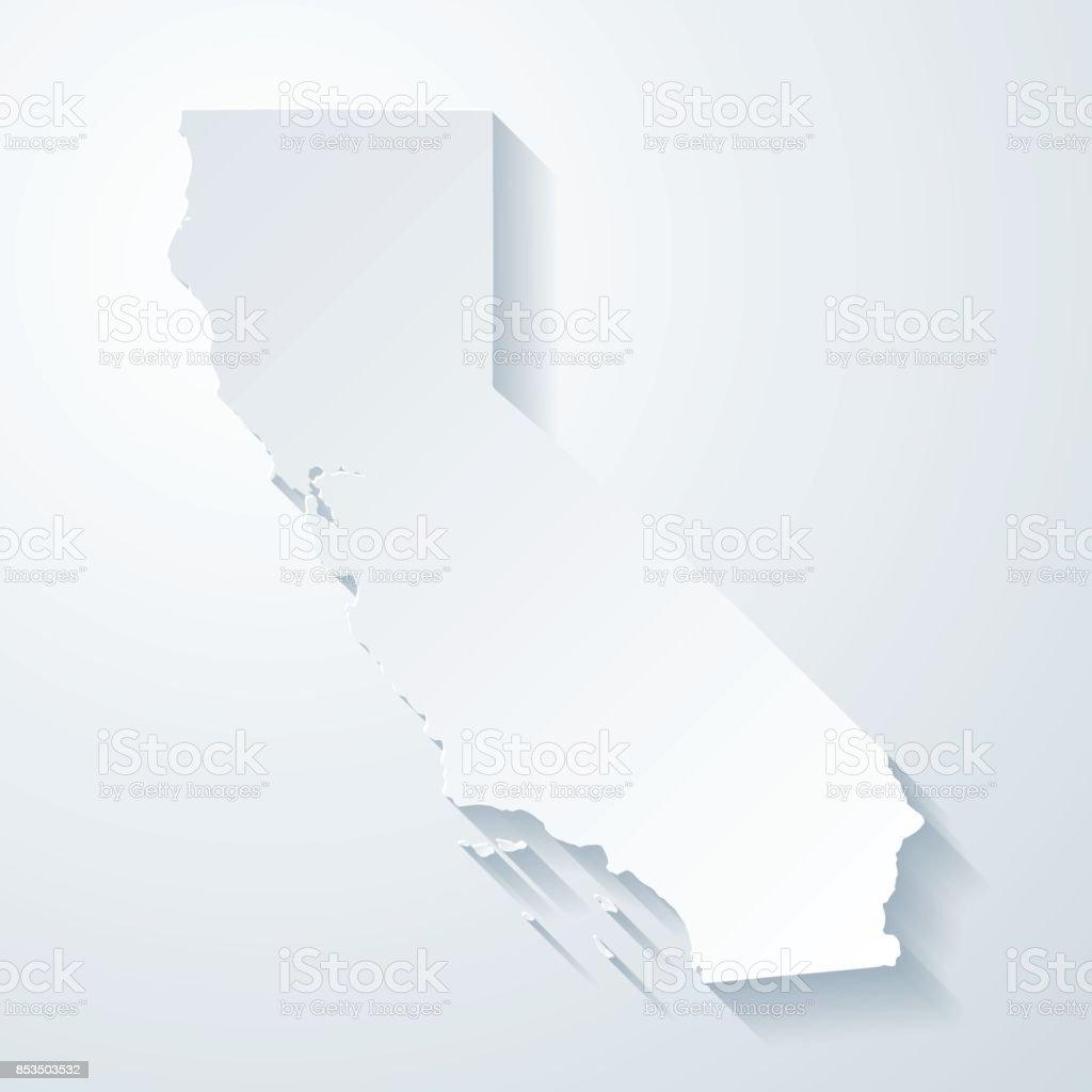 Mapa de California con papel cortado efecto sobre fondo blanco - ilustración de arte vectorial