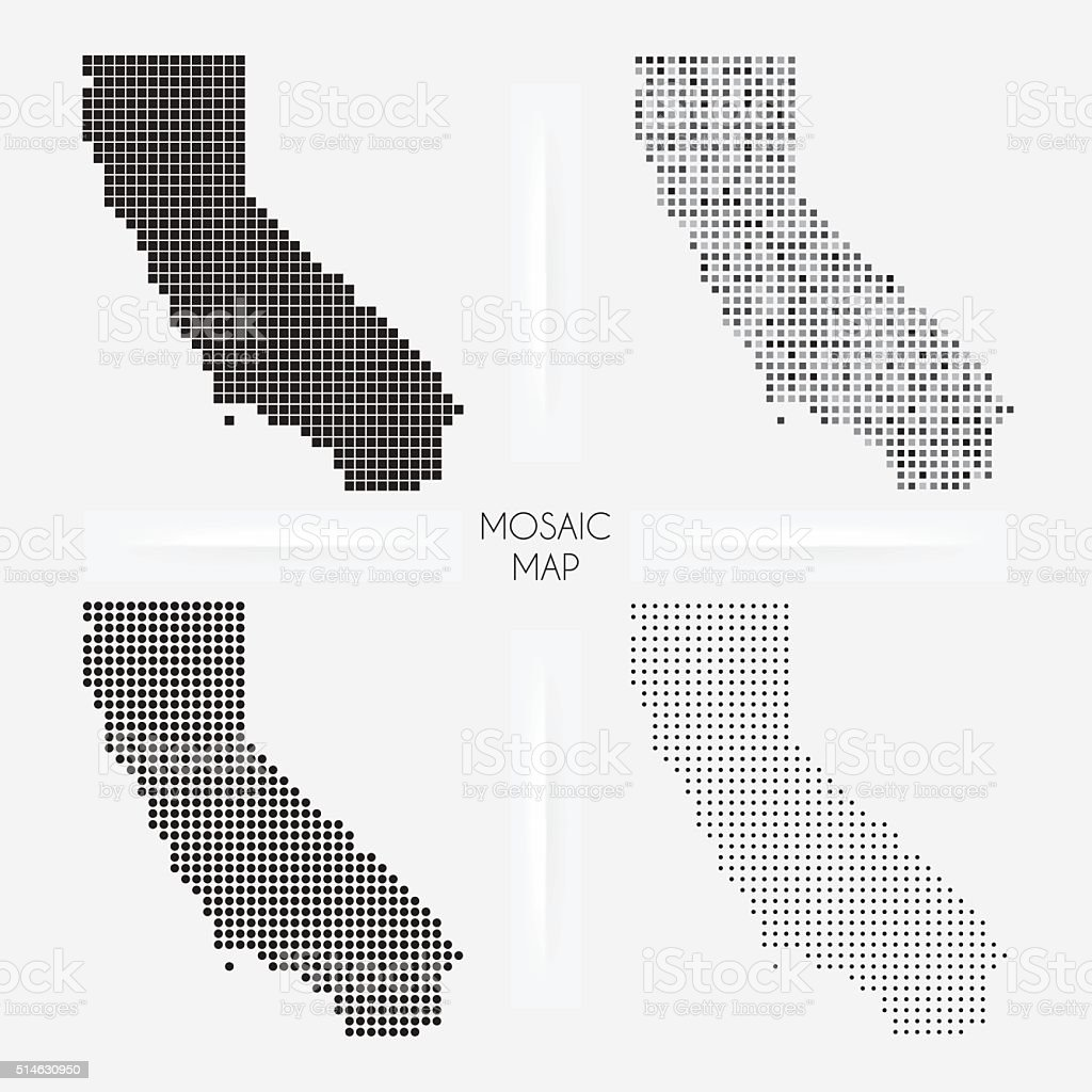 California maps - Mosaic squarred and dotted vector art illustration