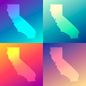Map of California in a colorful, modern and trendy design. Four maps with beautiful color gradients (purple, cyan, blue, green, yellow, orange, red, pink, beige). Vector Illustration (EPS10, well layered and grouped). Easy to edit, manipulate, resize or colorize. Please do not hesitate to contact me if you have any questions, or need to customise the illustration. http://www.istockphoto.com/portfolio/bgblue