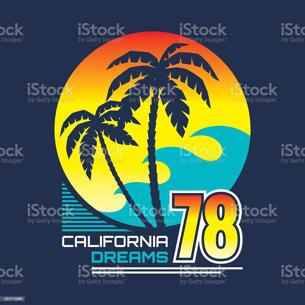California nights - vintage illustration concept vector art illustration