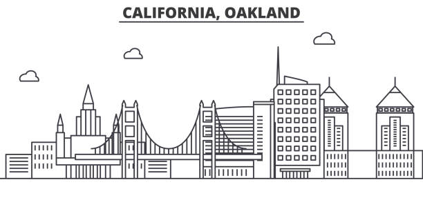 California Oakland architecture line skyline illustration. Linear vector cityscape with famous landmarks, city sights, design icons. Landscape wtih editable strokes California Oakland architecture line skyline illustration. Linear vector cityscape with famous landmarks, city sights, design icons. Editable strokes oakland stock illustrations