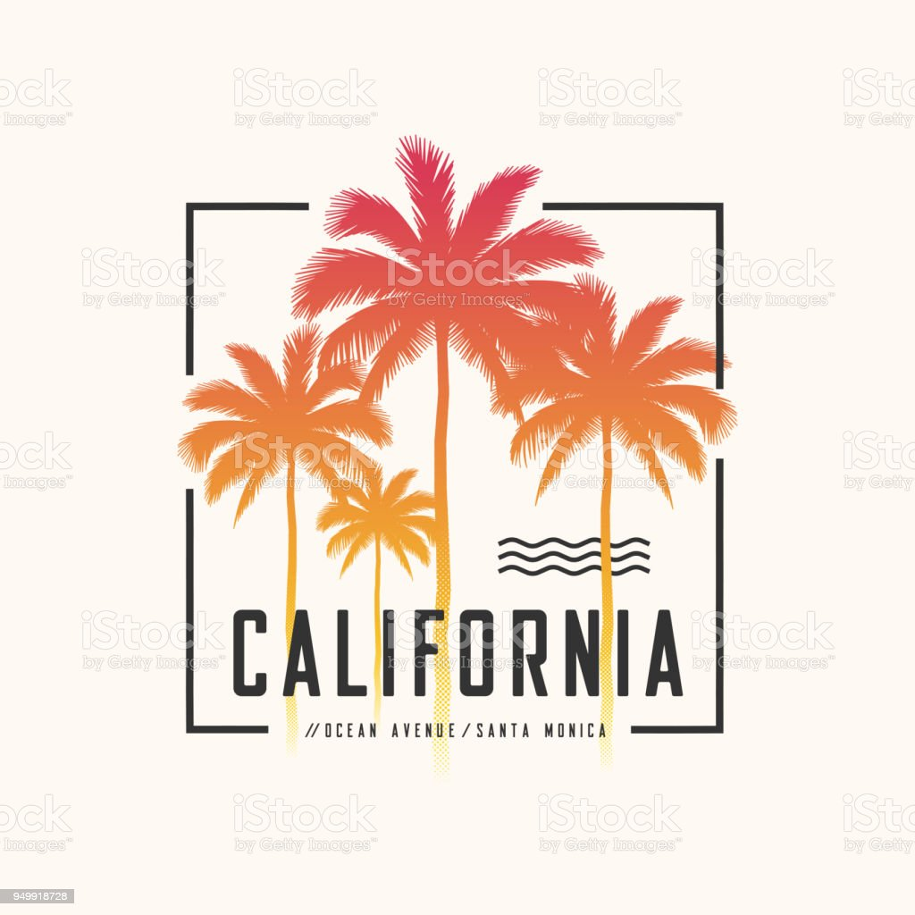 California Ocean Avenue tee print with palm trees, t shirt design, typography, poster. royalty-free california ocean avenue tee print with palm trees t shirt design typography poster stock illustration - download image now