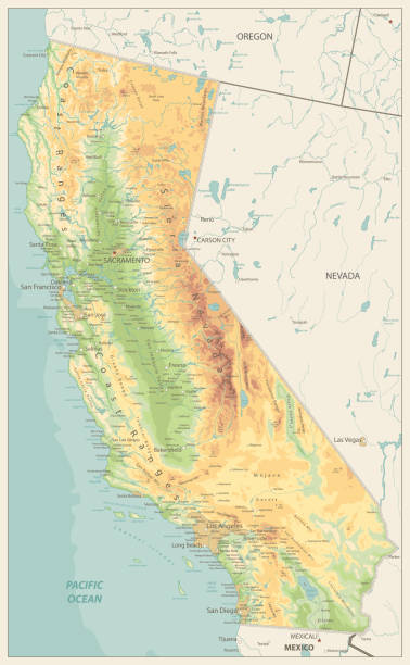 California Physical Map Retro Colors California Physical Map Retro Colors - Highly Detailed Relief Map of California State vector illustration - All elements are separated in editable layers clearly labeled. california map stock illustrations