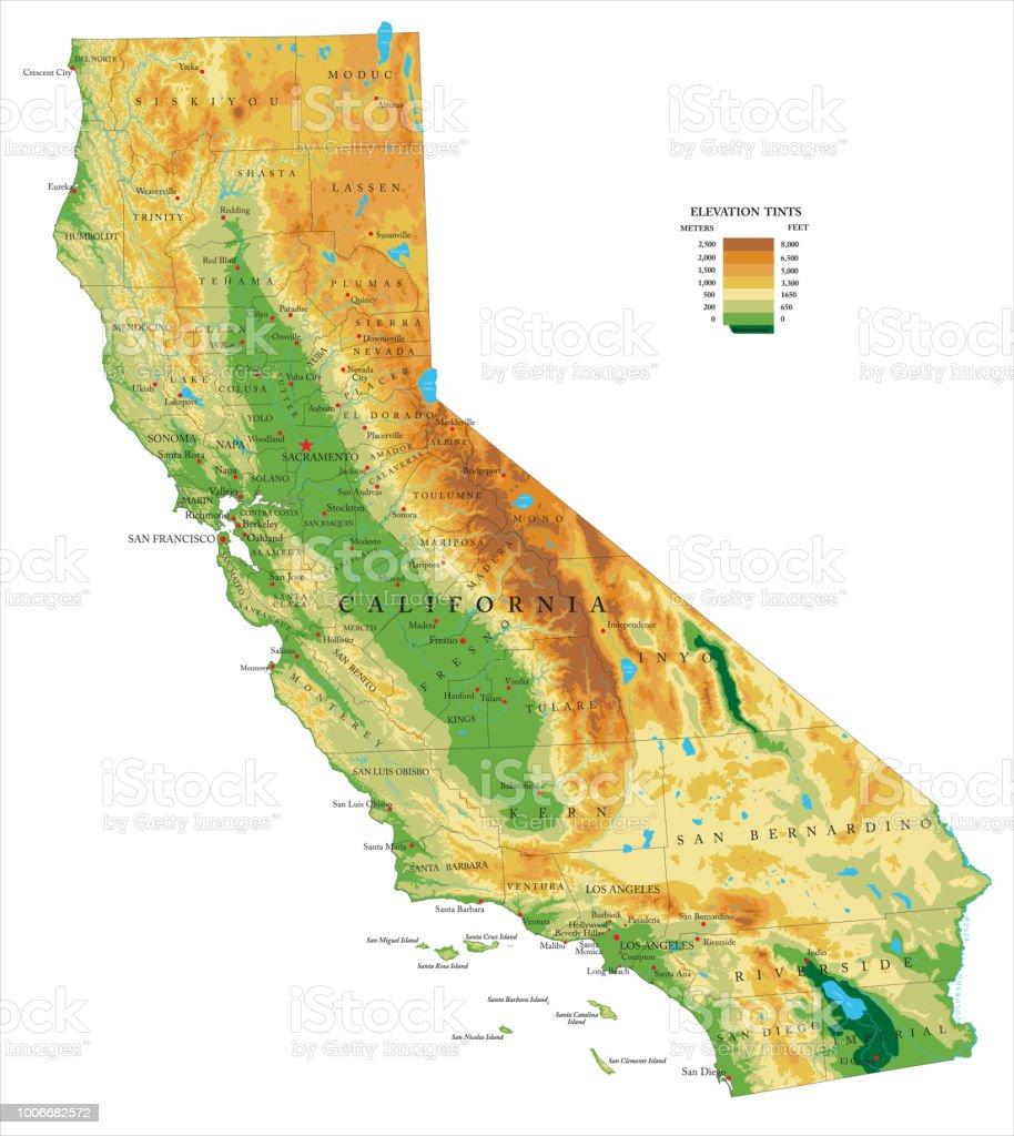 Mapa físico de California - ilustración de arte vectorial