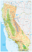 California Physical Map - Highly Detailed Relief Map of California State vector illustration - All elements are separated in editable layers clearly labeled.