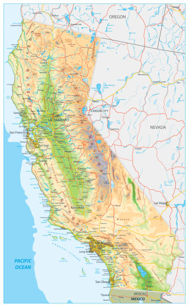 California Physical Map California Physical Map - Highly Detailed Relief Map of California State vector illustration - All elements are separated in editable layers clearly labeled. california map stock illustrations