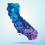 Abstract Polygon Triangle vector map of California, USA. File was created in DMesh Pro and Adobe Illustrator on May 22, 2014. The colors in the .eps-file are in RGB. Transparencies used. Included files are EPS (v10) and Hi-Res JPG (5035 x 5035 px).