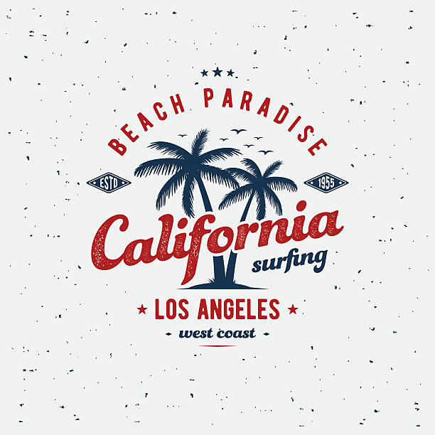 California print gray California surfing typography for t-shirt print. Apparel fashion design. Vector illustration surf stock illustrations