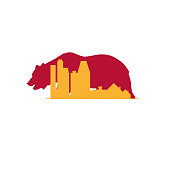 California real estate vector icon. City skyline, skyscrapers and suburbs silhouette and californian grizzly bear. Branding idea, business card emblem.