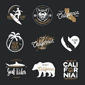 California related t-shirt vintage style graphics set. Vector illustration.