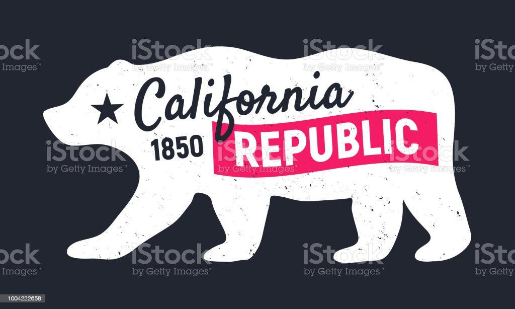 California Republic Bear Vintage Poster Print For Tshirt