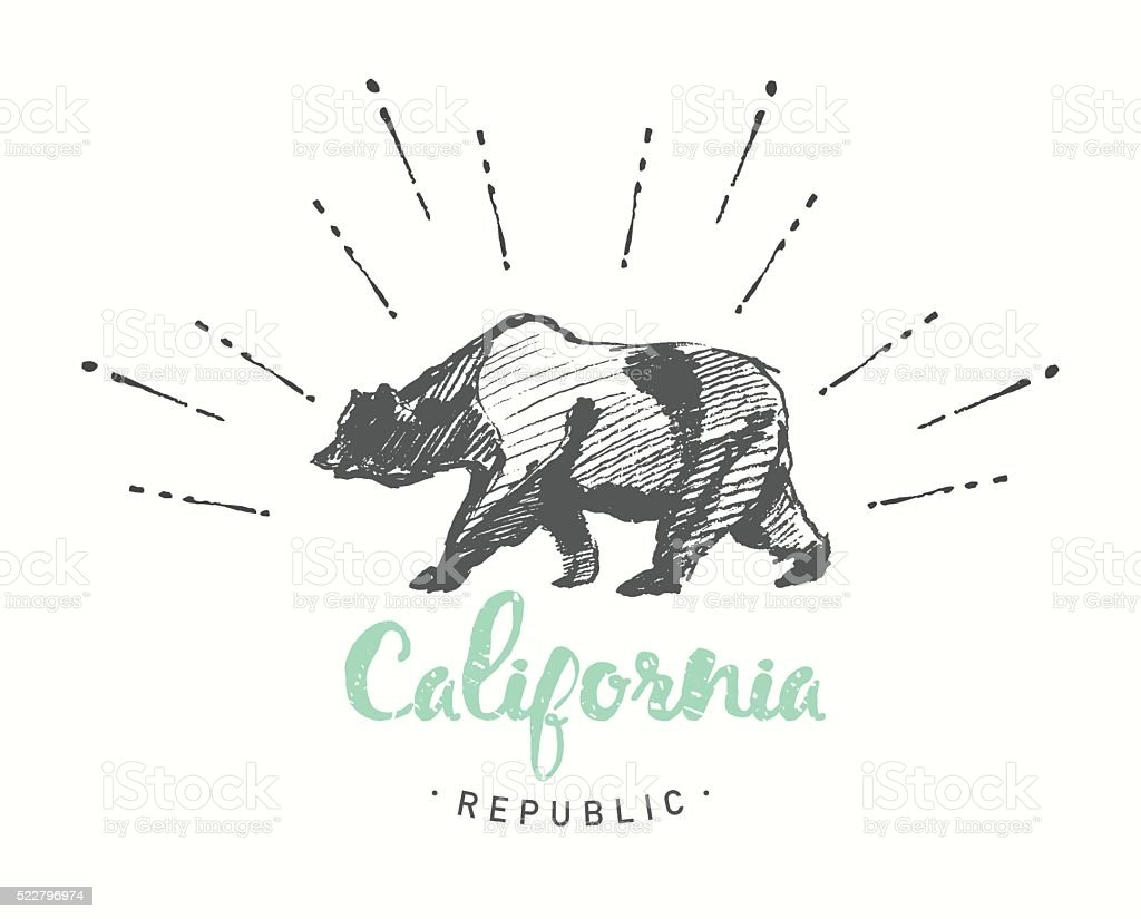 California Republic emblem drawn vector sketch vector art illustration